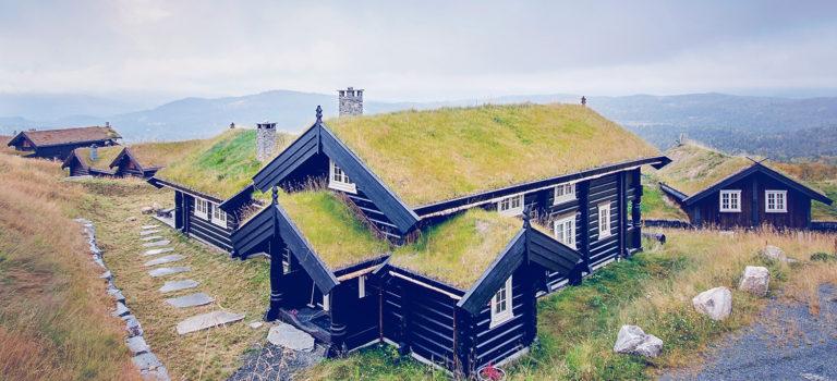 Hvordan få en stor hytte til å passe inn i terrenget?